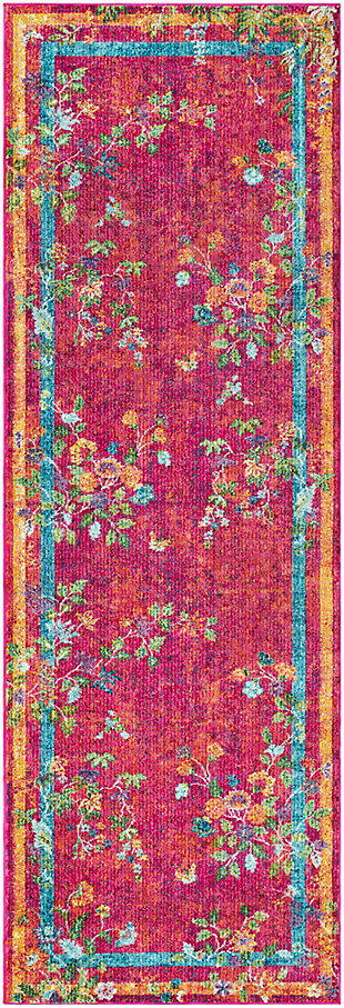 Kids Area Rug 2'7 x 7'6, Pink/Saffron/Yellow, large