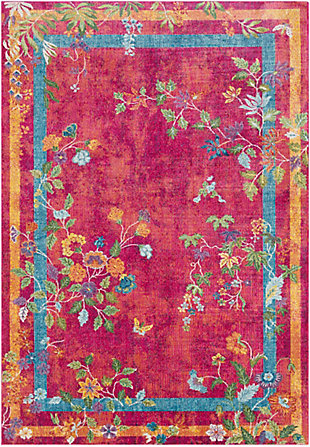 Kids Area Rug 5'3 x 7'6, Pink/Saffron/Yellow, large