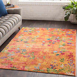 Kids Area Rug 5'3 x 7'6, Bright Yellow/Rose/Olive, rollover