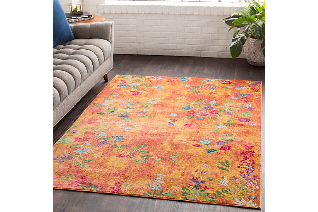 Kids Area Rug 5'3 x 7'6, Bright Yellow/Rose/Olive, large