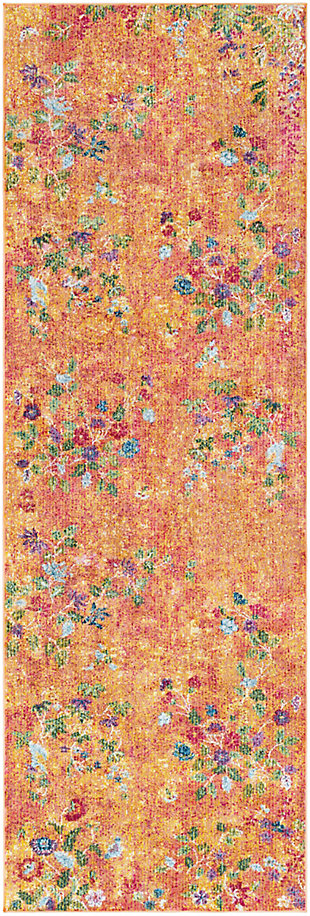 Kids Area Rug 2'7 x 7'6, Bright Yellow/Rose/Olive, large