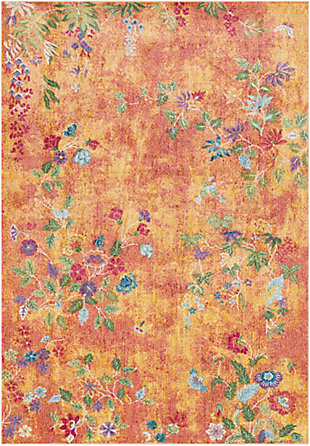 "Kids Area Rug 5'3"" x 7'6"", Bright Yellow/Rose/Olive, large"