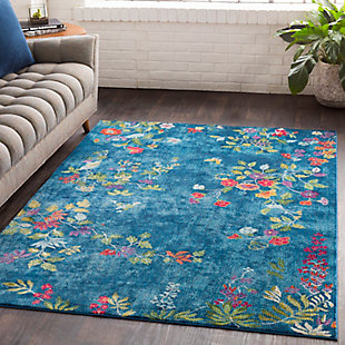 Kids Area Rug 5'3 x 7'6, Navy/Rose/Lime, rollover