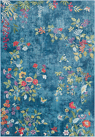 "Kids Area Rug 5'3"" x 7'6"", Navy/Rose/Lime, large"