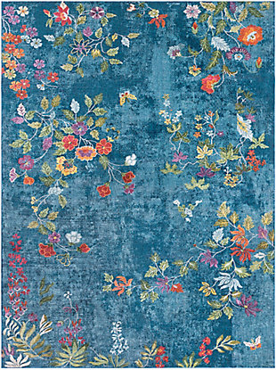 Kids Area Rug 5'3 x 7'6, Navy/Rose/Lime, large