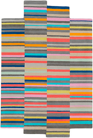 "Kids Area Rug 5' x 7'6"", Coral/Aqua/Ash Gray, large"