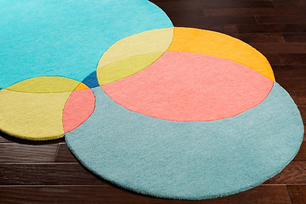 """Kids Area Rug 5' x 7'6"""", Teal/Coral/Bright Yellow, large"""