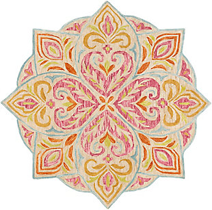 Kids Area Rug 5' Round, Rose/Lime/Aqua, large