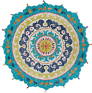 Kids Area Rug 5' Round, Teal/Mustard/Navy, large