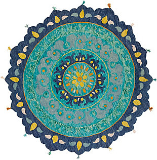 Kids Area Rug 5' Round, Teal/Lime/Saffron, large