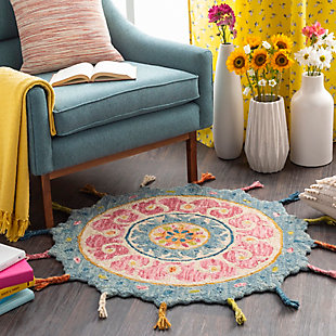 Kids Area Rug 5' Round, Rose/Aqua/Burnt Orange, rollover