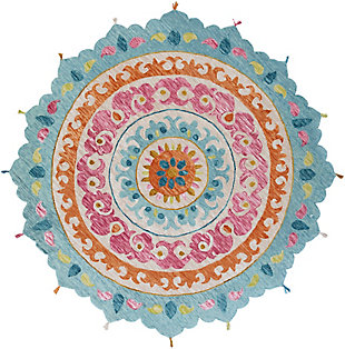 Kids Area Rug 5' Round, Rose/Aqua/Burnt Orange, large