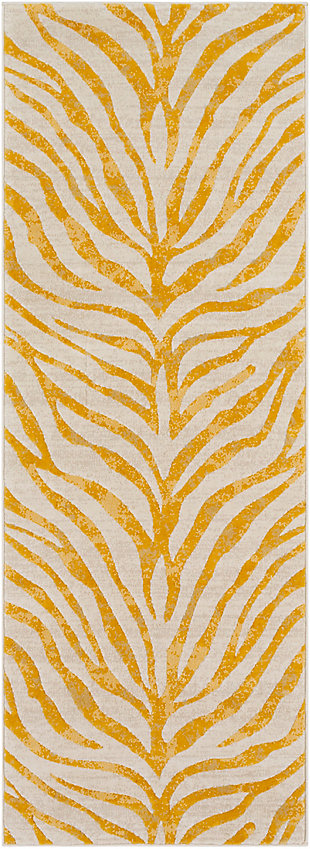 "Kids Area Rug 2'7"" x 7'3"", Mustard/Khaki, large"