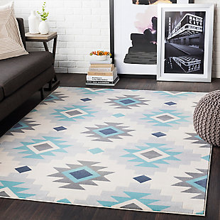 "Kids Area Rug 5'3"" x 7'3"", Ash Gray/Aqua/Taupe, large"