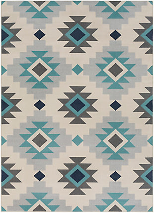 Kids Area Rug 5'3 x 7'3, Ash Gray/Aqua/Taupe, large