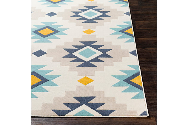 Kids Area Rug 2' x 3', Ash Gray/Navy/Mustard, large