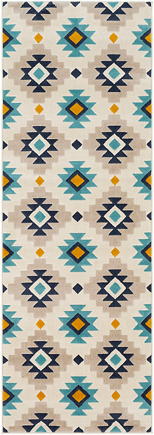 "Kids Area Rug 2'7"" x 7'3"", Ash Gray/Navy/Mustard, large"