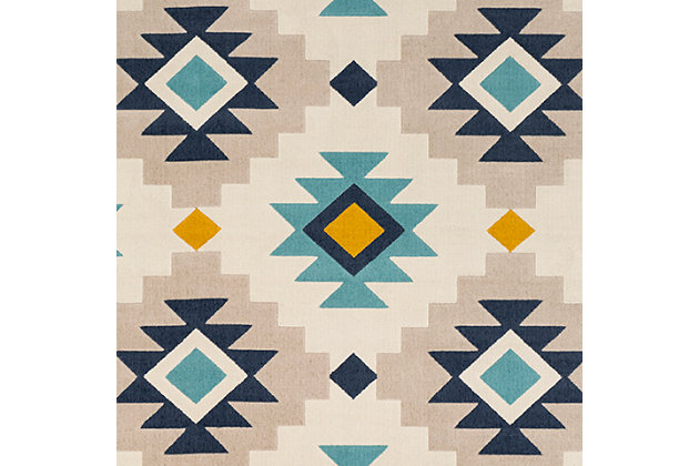 "Kids Area Rug 5'3"" x 7'3"", Ash Gray/Navy/Mustard, large"