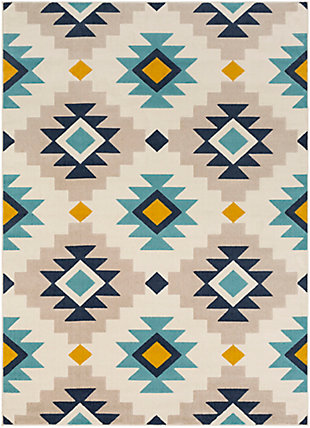 Kids Area Rug 5'3 x 7'3, Ash Gray/Navy/Mustard, large