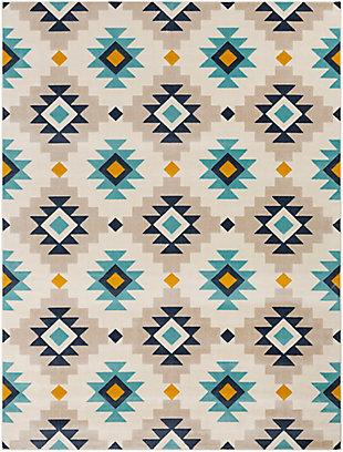 "Kids Area Rug 7'10"" x 10'3"", Ash Gray/Navy/Mustard, large"