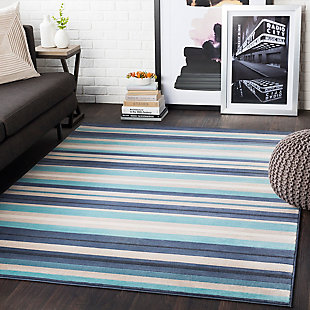 Kids Area Rug 5'3 x 7'3, Aqua/Charcoal/Navy, rollover
