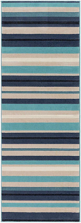 "Kids Area Rug 2'7"" x 7'3"", Aqua/Charcoal/Navy, large"