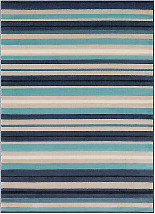 Kids Area Rug 5'3 x 7'3, Aqua/Charcoal/Navy, large