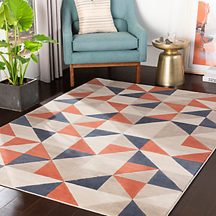 Kids Area Rug 5'3 x 7'3, Coral/Charcoal/Navy, rollover