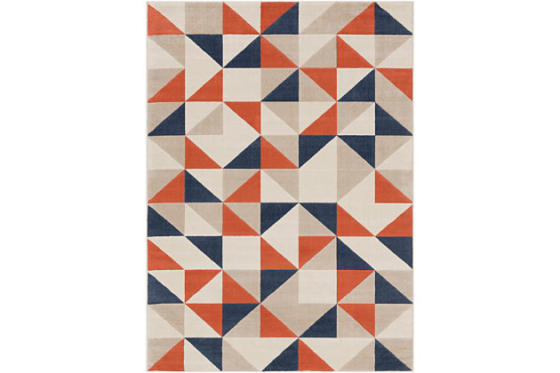 Kids Area Rug 2' x 3', Coral/Charcoal/Navy, large