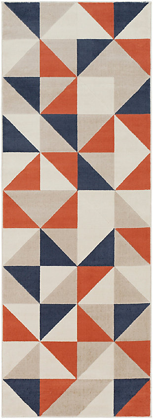 Kids Area Rug 2'7 x 7'3, Coral/Charcoal/Navy, large