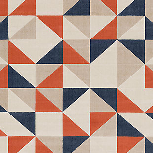 """Kids Area Rug 5'3"""" x 7'3"""", Coral/Charcoal/Navy, large"""