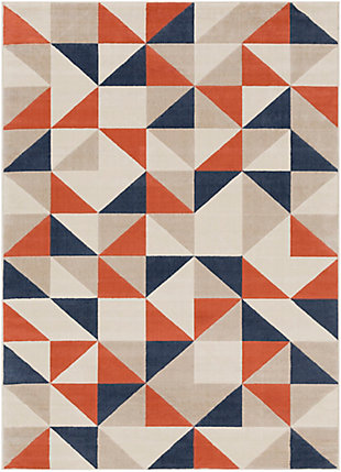 Kids Area Rug 5'3 x 7'3, Coral/Charcoal/Navy, large