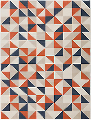 "Kids Area Rug 7'10"" x 10'3"", Coral/Charcoal/Navy, large"