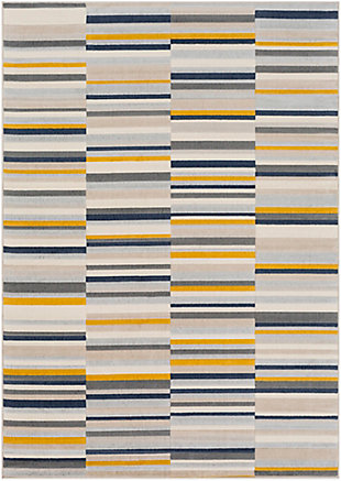 Kids Area Rug 5'3 x 7'3, Mustard/Navy/Ash Gray, large