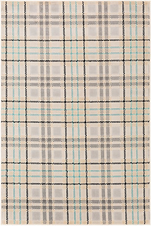 Kids Area Rug 5'3 x 7'3, Khaki/Black/Aqua, large