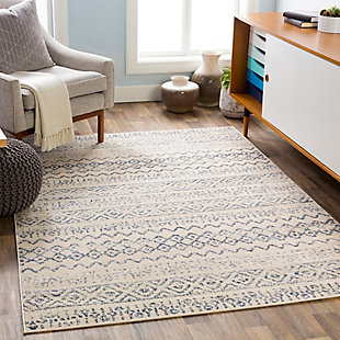 Kids Area Rug 5'3 x 7'3, Denim/Wheat/Cream, rollover