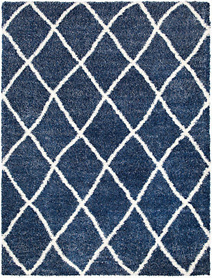 Kids Area Rug 7'10 x 10'2, Navy/Cream, large