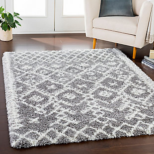 Kids Area Rug 6'7 x 9'6, Charcoal/Ash Gray/Cream, rollover