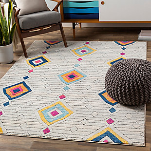 Kids Area Rug 5'3 x 7'3, Ash/Burnt Orange/Denim, rollover