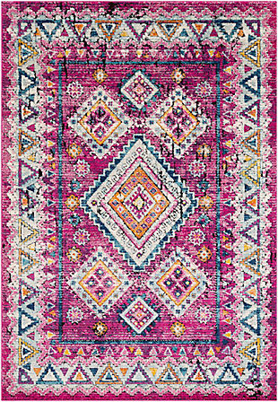Kids Area Rug 5'3 x 7'3, Bright Pink/Aqua/Ash Gray, large
