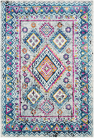 Kids Area Rug 5'3 x 7'3, Denim/Blush Pink/Aqua, large