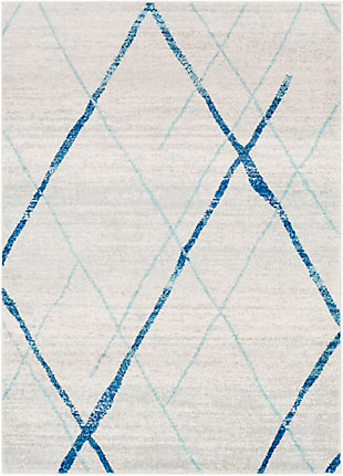Kids Area Rug 5'3 x 7'6, Aqua/Navy/Ash Gray, large