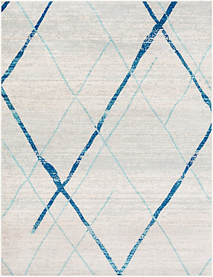 Kids Area Rug 7'10 x 10'3, Aqua/Navy/Ash Gray, large