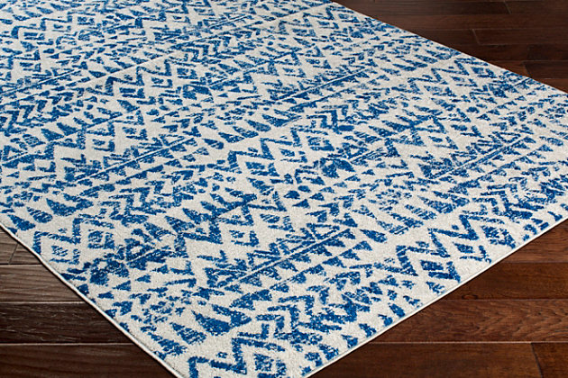 Kids Area Rug 5'3 x 7'6, Navy/Denim/Ash Gray, large