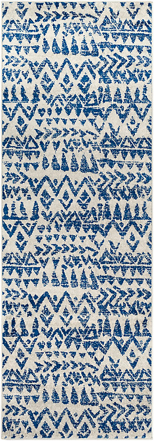 Kids Area Rug 2'7 x 7'6, Navy/Denim/Ash Gray, rollover