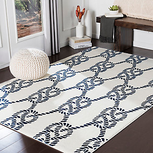 Kids Area Rug 5'3 x 7'3, Navy/Cream, rollover