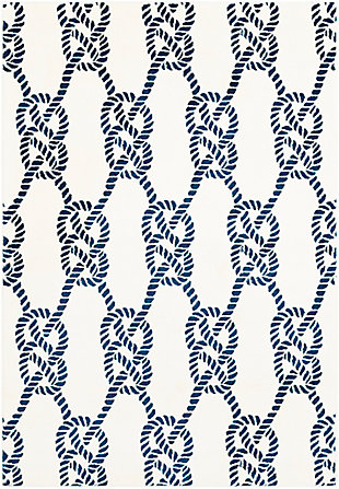 Kids Area Rug 5'3 x 7'3, Navy/Cream, large
