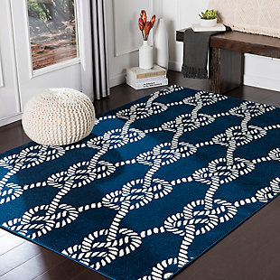 Kids Area Rug 6'7 x 9'6, Navy/Cream, rollover