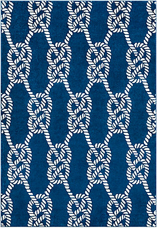 Kids Area Rug 6'7 x 9'6, Navy/Cream, large