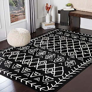 Kids Area Rug 5'3 x 7'3, Black/Cream, rollover